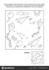 Verbind Stippen Afbeeldingspuzzel Kleurplaat Met Papier Vliegtuigen