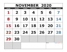 November 2020 Printable Calendar Template Excel Pdf Image