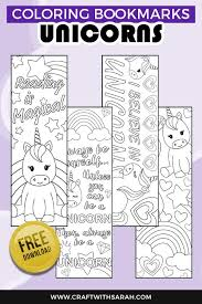 I'm so excited to share these printable coloring bookmarks with you! Free Unicorn Coloring Bookmarks To Print Craft With Sarah