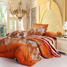 orange comforter set queen rust white and purple western paisley pop print with wide 17