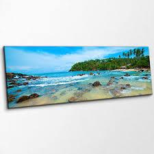 image is loading idyllic tropical beach scene blue sea rocks panoramic  on beach scene canvas wall art with idyllic tropical beach scene blue sea rocks panoramic canvas print