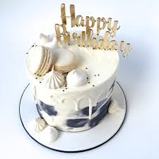 Happy Birthday Acrylic Cake Topper Gold Silver White Black Grey