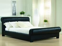 black sleigh bed black faux leather