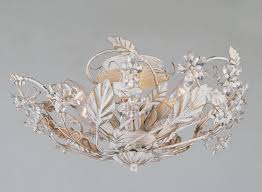 florence crystal and metal light fitting antique white from argos