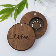 personalised walnut round engraved ring box