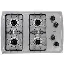 gas cooktop in stainless steel with 4 burners