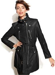 women s fashion outerwear trenchcoats black leather trenchcoats kenneth cole reaction faux leather motorcycle trench coat