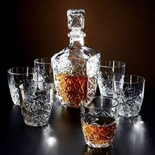 Whiskey Crystal Glasses Decanter Set of 7 Drinking Scotch Bar Glass Rocks  Cups