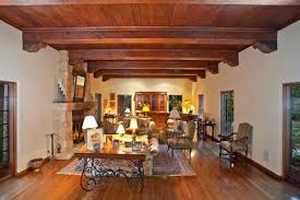 Craftsman Living Room with Exposed Wooden Beams