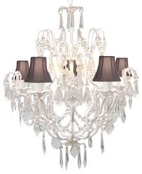 wrought iron white chandelier with black shades