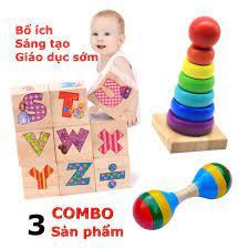 Combo 3 sản phẩm đồ chơi gỗ thông minh phát triển trí nào cho bé từ 0 đến 3  tuổi