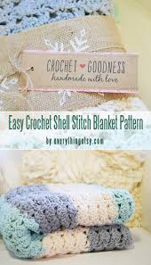 easy crochet shell stitch blanket pattern with free printables labels for beginners curated by craft