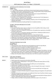Program Manager Resume Examples Training Program Manager Resume Samples Velvet Jobs