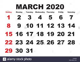 Month Of March Calendar 2020 2020 Calendar March Month Vector Printable Calendar