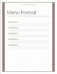 Restaurant Menu Format Free Restaurant Menu Design Format Template Download Diner Templates Free
