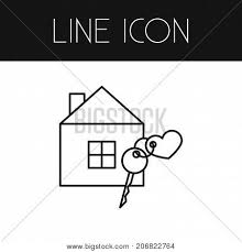 house key outline. Security Vector Element Can Be Used For House, Key, Heart Design Concept. Isolated House Key Outline