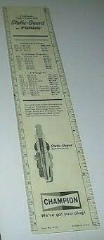 Champion Spark Plug Ruler Chevy And Ford Engine Tuneup Chart