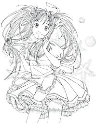 Cute Anime Coloring Pages Coloring Pages Anime Cute Girl Drawing At