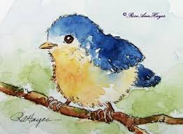 baby bird watercolor painting