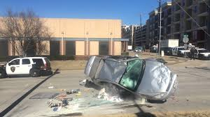 stolen car flips after plano police pursuit