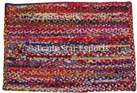 trade star exports multi color indian rectangular cotton floor braided rug size 2x3