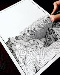 Any other mark we make can be seen as one or more dots in combination. Christa Rijneveld Creates Pen And Ink Line Drawings Of Mountains