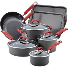 rachael ray hard anodized 12 piece. Contemporary Anodized Rachael Ray HardAnodized Nonstick 12Piece Cookware Set Grey With Red  Handles On Hard Anodized 12 Piece L