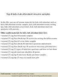 Top 40 Kids Club Attendant Resume Samples Unique Kids Resume