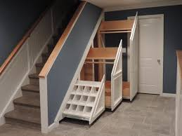 ... Mudroom:Gorgeous Under Stair Storage For Coats Gray Stone Tiled Floor  White Pull Out Coak