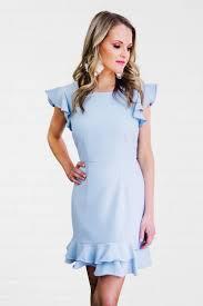 Light Blue Ruffle Dress Audrey Ruffle Dress Light Blue Gilded Garment