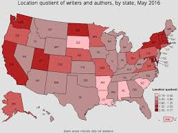 writers and authors states the highest concentration of jobs and location quotients in this occupation