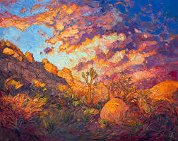 modern impressionist landscape painting of joshua tree national park by erin hanson