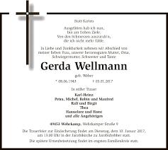 Anzeige Von Gerda Wellmann Trauerkreiszeitungde Gerda Wellmann