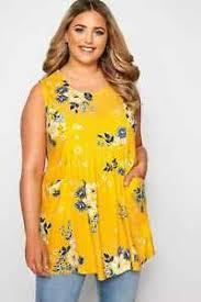 Details About Yours Clothing Womens Plus Size Yellow Floral Pocket Blouse