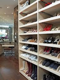 furniture white wooden graded shoe shelves on dark brown wooden floor adorable shoe shelves