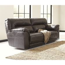 ashley furniture barrettsville leather reclining sofa in chocolate