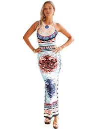 African Pattern Dress Extraordinary Light Blue African Pattern Low Back Halter Maxi Dress WhatsMode