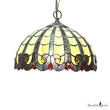 tiffany style victorian downward pendant light with 12 w dome glass shade in vintage style