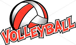 Volleyball Word Volleyball In Red And White Youth Program Clipart