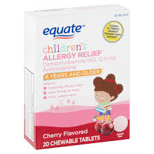 Children S Chewable Benadryl Dosage Chart Equate Childrens Cherry Allergy Relief Chewable Tablets 6 Years Older 20 Count Walmart Com