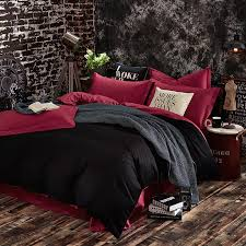 100 cotton black red color king queen twin size bedding