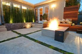 modern fire pit bench patio with concrete