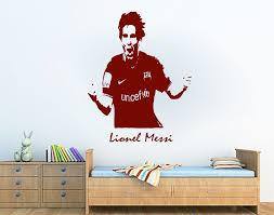 personalised lionel messi barcelona football sport vinyl wall art sticker custom any name decal wall mural home decoration in wall stickers from home  on custom vinyl wall art stickers with personalised lionel messi barcelona football sport vinyl wall art
