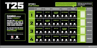t25 workout calendar gamma phase