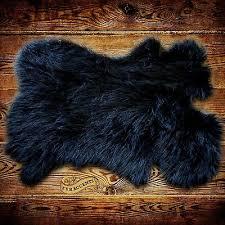 details about sheepskin rug black mongolian carpet pelt throw rug faux fur accents
