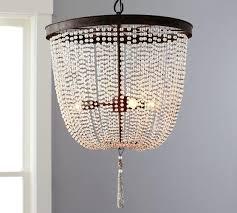 wooden beaded chandelier best design lighting ideas images on pottery barn rowan iron