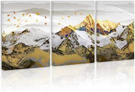 Find landscapes wall art & decor at lowe's today. Amazon Com Mountains Landscape Wall Art Decor Gold Modern Abstract Artwork Canvas Painting Prints Pictures Home Decor For Living Room Dining Room Bedroom Posters Prints