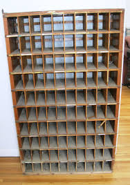 Antique Oak Post Office Box Mail Sorter Cabinet Glass Back 100 ...