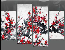 on grey red wall art with red chinese blossom tree split panel canvas wall art