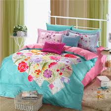 light blue and pink beautiful fl bedding set